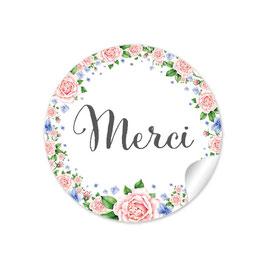 """Danke"" - Rosen blau rosa - FRANZÖSISCH - Merci"