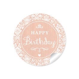 """Happy Birthday"" - Shabby Chic - apricot"