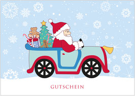 """Gutschein""  - Driving Home for Christmas - Bunt"