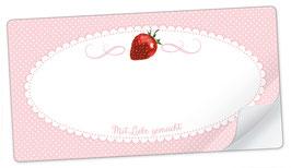 """10 Sticker rechteckig groß -""""Mit Liebe gemacht""""- Erdbeere rosa - mit Freitextfeld"""
