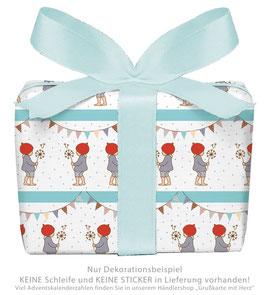 3 Bögen Geschenkpapier groß - WICHTEL GIRLANDE - BLAU WEIß