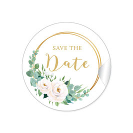 """Save the Date"" - Ringe Eukalyptus Rosen weiß"