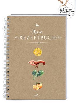 """NEU: DIN A4 KREATIV DIY KOCHBUCH """"Mein Rezeptbuch"""" FOOD KRAFTPAPIER (Spiralgebunden)"""
