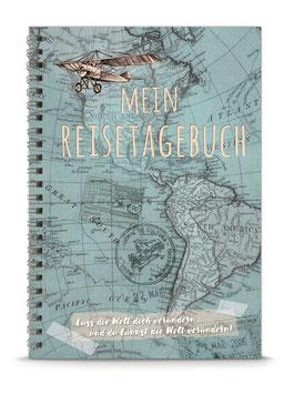 """NEU: DIN A5 KREATIV DIY TAGEBUCH """"MEIN REISETAGEBUCH"""" zum Selbstbeschreiben - blau - (Spiralgebunden)"""