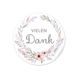 """""""Vielen Dank"""" - Blütenkranz - Pastell  rosa"""