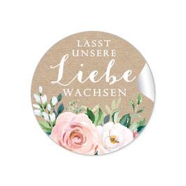 """""""Lasst unsere Liebe wachsen"""" - Kraftpapier Look Rosen Blüten Blätter Apricot weiß grün"""
