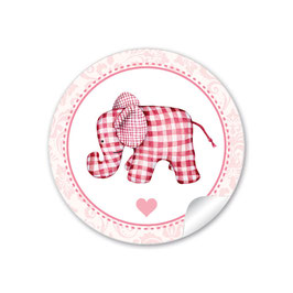 24 STICKER: Elefant  karriert - rosa