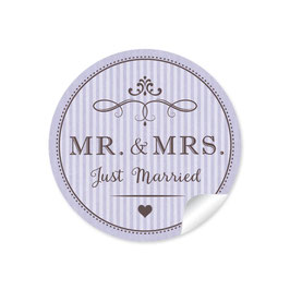 """MR. and MRS.  - Just married"" - Vintage Retro - lila"