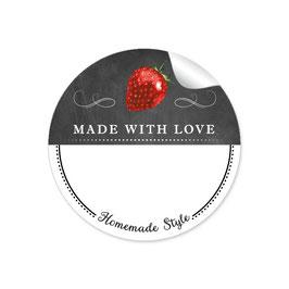 MADE WITH LOVE- HOMEMADE STYLE ERDBEERE - Kreidetafel schwarz weiß - mit Freitextfeld BREIT