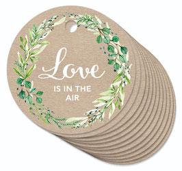 12 ANHÄNGER ORIGINAL KRAFTPAPIER • Love is in the Air • Zweige Kranz grün