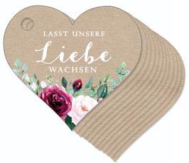 12 HERZ ANHÄNGER ORIGINAL KRAFTPAPIER • Lasst unsere Liebe wachsen •  Boho Rosen rosa rot grün