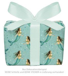 3 Bögen Geschenkpapier - Meerjungfrau türkis - gedruckt auf PEFC zertifiziertem Papier, 50 x 70 cm
