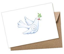 TAUBE weiß 1 Postkarte + Umschlag