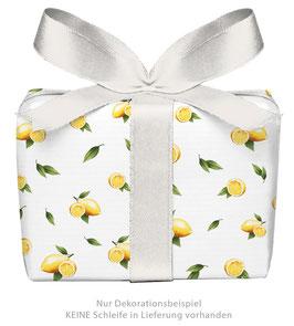 3 Bögen Geschenkpapier - Zitrone weiß - gedruckt auf PEFC zertifiziertem Papier, 50 x 70 cm