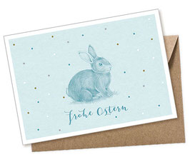 POSTKARTE + UMSCHLAG • HASE MINT PASTELL FROHE OSTERN