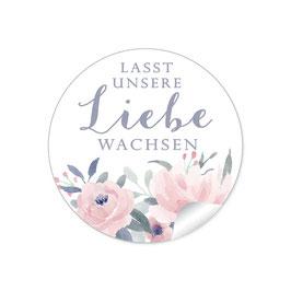 """Lasst unsere Liebe wachsen"" - Pastell Rosen Blüten Blätter rosa weiß blau grau"