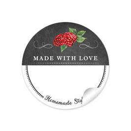 MADE WITH LOVE- HOMEMADE STYLE HIMMBEERE - Kreidetafel schwarz weiß - mit Freitextfeld BREIT