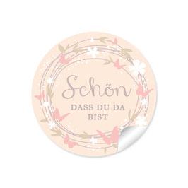 """""""Schön, dass du da bist"""" -Schmetterling  - creme / rosa"""
