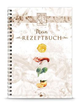 """DIN A5 KREATIV DIY KOCHBUCH """"Mein Rezeptbuch"""" zum Selbstbeschreiben braun (Spiralgebunden)"""
