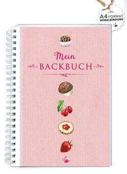 "NEU: DIN A4 KREATIV DIY BACKBUCH ""Mein BACKBUCH"" ROSA VINTAGE (Spiralgebunden)"
