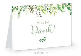 Personalisierte Dankeskarte - GREEN LEAVES WHITE