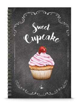 """NEU ! DIN A5 KREATIV DIY BACKBUCH """"Sweet Cupcake"""" zum Selbstbeschreiben schwarz Kreidetafel Look (Spiralgebunden)"""