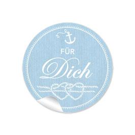 Für Dich - Maritim blau Anker Knoten weiß