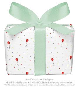 3 Bögen Geschenkpapier groß - BALLON - ROT