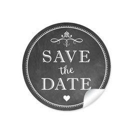"""Save the Date"" - Vintage Ornamente - Kreidetafel / schwarz"