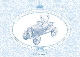 """It´s a boy!""  - Rennwagen - Blau"
