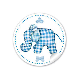 Elefant mit Krone - blau