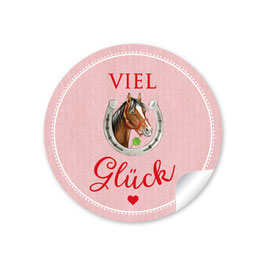 """Viel Glück"" - Pferd- rosa"