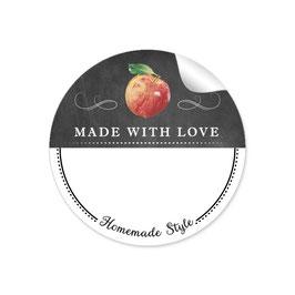 MADE WITH LOVE- HOMEMADE STYLE APFEL - Kreidetafel schwarz weiß - mit Freitextfeld BREIT