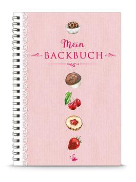 """DIN A5 KREATIV DIY BACKBUCH """"Mein Backbuch"""" zum Selbstbeschreiben rosa (Spiralgebunden)"""