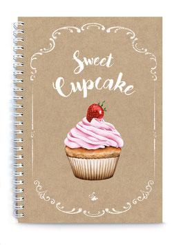 """NEU ! DIN A5 KREATIV DIY BACKBUCH """"Sweet Cupcake"""" zum Selbstbeschreiben ORIGINAL KRAFTPAPIER (Spiralgebunden)"""