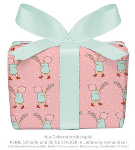 3 Bögen Geschenkpapier groß - WICHTEL - ROSA