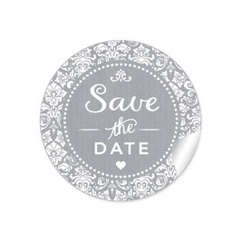 """Save the Date"" - Vintage  Retro Ornamente - grau"