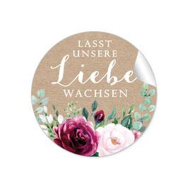 """""""Lasst unsere Liebe wachsen"""" - Kraftpapier Look Rosen Blüten Blätter rot weiß grün"""