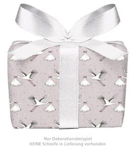3 Bögen Geschenkpapier groß - Storch mit Baby rosa - gedruckt auf PEFC zertifiziertem Papier, 50 x 70 cm