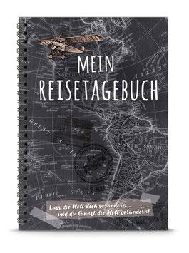 """NEU: DIN A5 KREATIV DIY TAGEBUCH """"MEIN REISETAGEBUCH"""" zum Selbstbeschreiben - SCHWARZ - (Spiralgebunden)"""