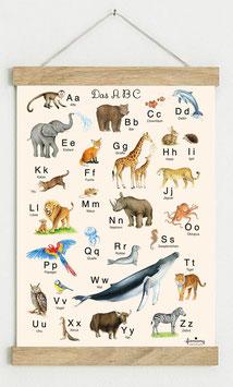 Din A3 BEIGE • ABC Poster Lernposter Tiere Alphabet Kinderzimmer Tierposter Zoo Wald Safari Afrika Tiere Für Kindergarten, zum Schulanfang & 1. Klasse