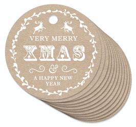 12 ANHÄNGER ORIGINAL KRAFTPAPIER • VERY MERRY CHRISTMAS & A HAPPY NEW YEAR