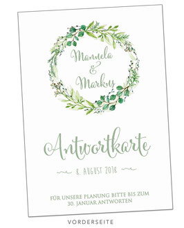 Personalisierte Antwortkarte - GREEN LEAVES WHITE