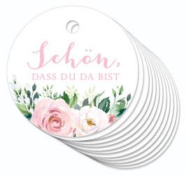 12 ANHÄNGER • Schön, dass du da bist  • Boho Rosen rosa weiß