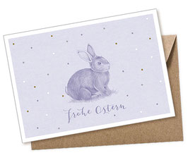 POSTKARTE + UMSCHLAG • HASE LILA PASTELL FROHE OSTERN