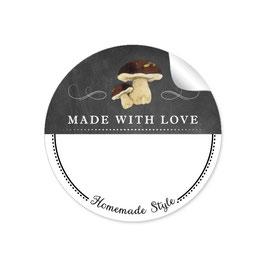 MADE WITH LOVE- HOMEMADE STYLE STEINPILZ - Kreidetafel schwarz weiß - mit Freitextfeld BREIT