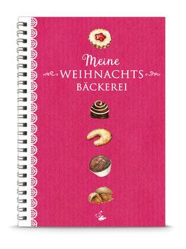 "DIN A5 KREATIV DIY BACKBUCH ""Meine Weihnachtsbäckerei"" zum Selbstbeschreiben fuchsia rot (Spiralgebunden)"