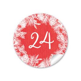 Adventskalenderzahlen - Weihnachtskranz - ROT