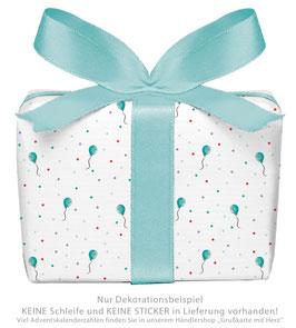 3 Bögen Geschenkpapier groß - BALLON - TÜRKIS