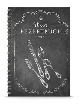 """DIN A5 KREATIV DIY KOCHBUCH """"Mein Rezeptbuch"""" zum Selbstbeschreiben schwarz Kreidetafel (Spiralgebunden)"""